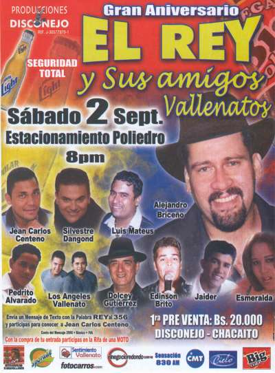 Concierto de Vallenatos para celebrar  el 6to. Aniversario del Rey de la Sintonía radial en Caracas - Venezuela Alejandro Briceño