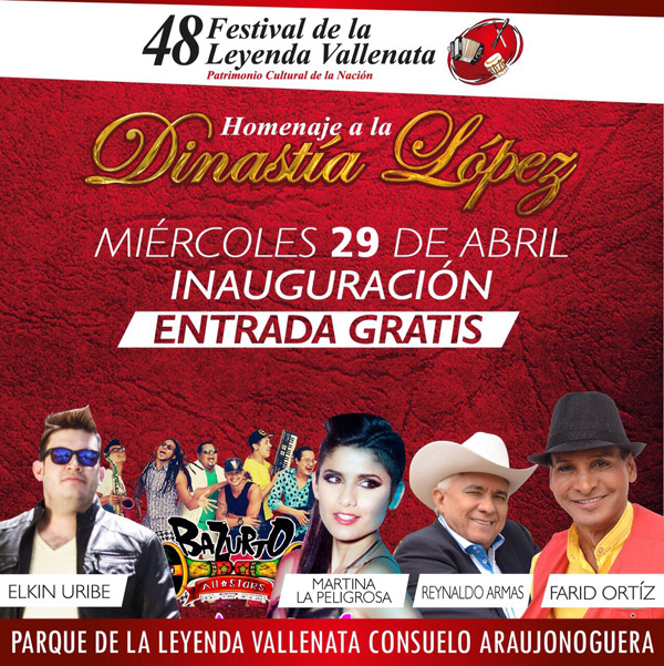 Gran espectáculo musical en la inauguración del 48 Festival de la Leyenda Vallenata