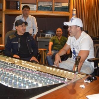 Jorge Celedón y Sergio Luis Rodríguez en grabación